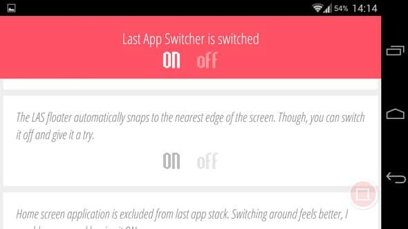Last action switcher result