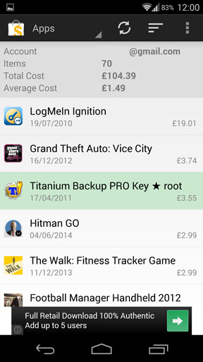 My paid apps list