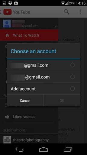 Switch youtube account