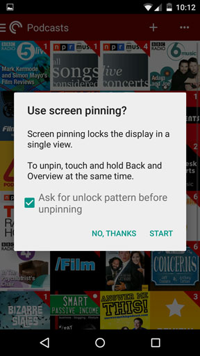 Screen pin option