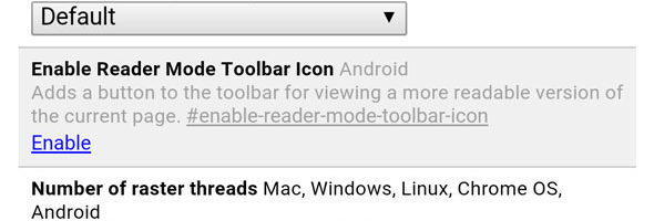 Enable the experimental Reader Mode in the Chrome browser